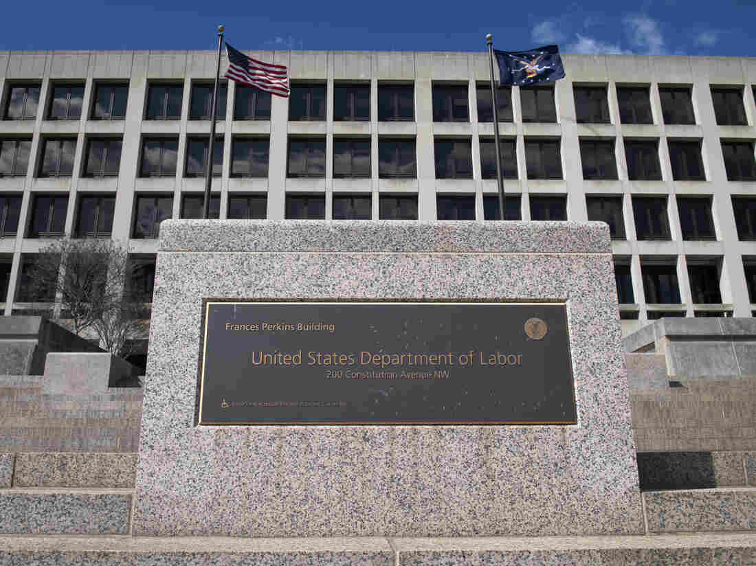 UNITED STATES - APRIL 2: The U.S. Department of Labor building is pictured in Washington on Thursday, April 2, 2020. (Photo by Caroline Brehman/CQ-Roll Call, Inc via Getty Images)