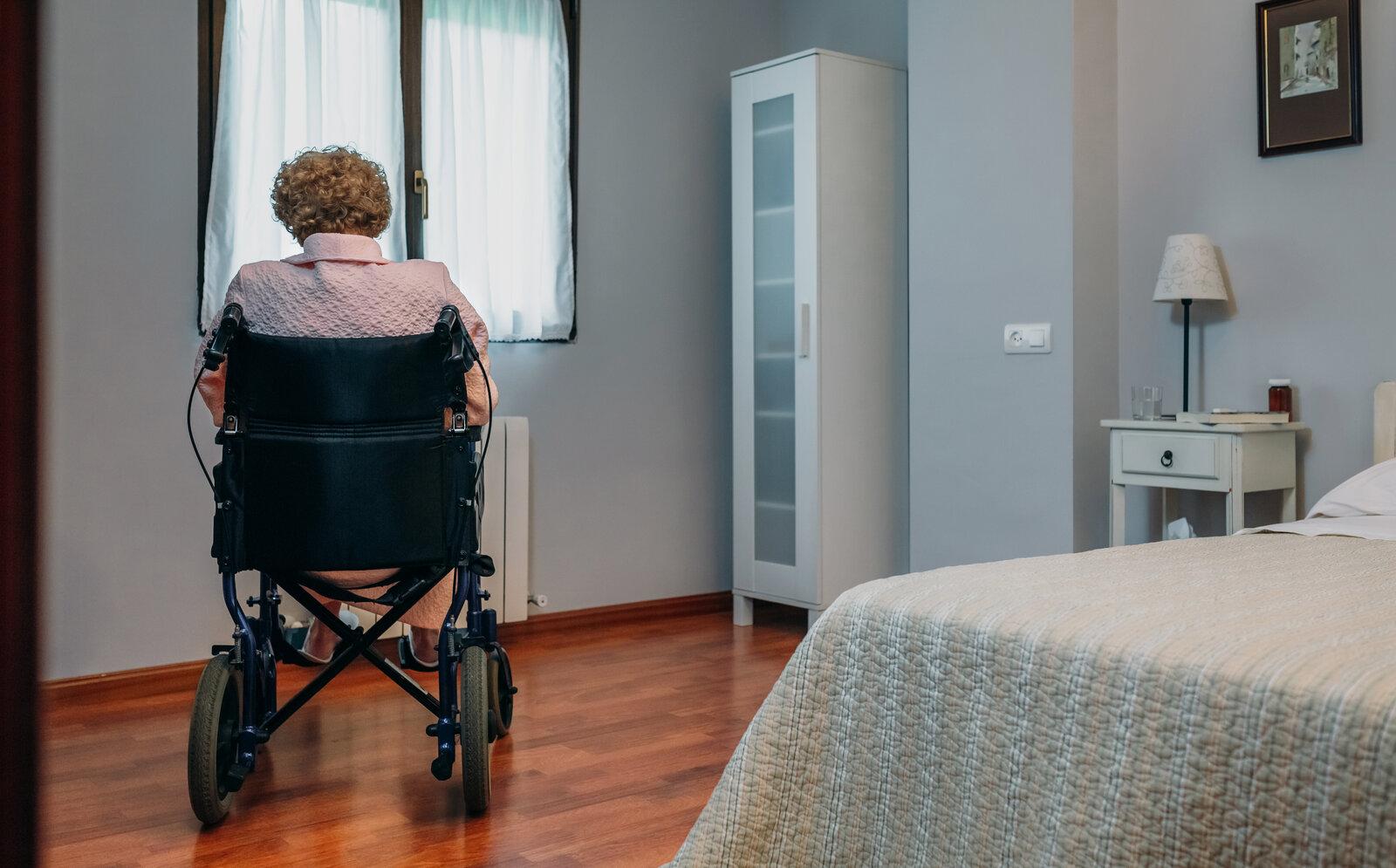 Senior patient sitting in a wheelchair.