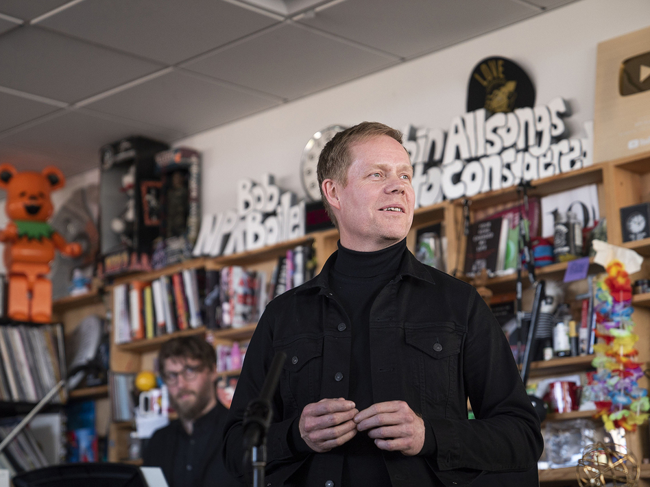 Max Richter performs during a Tiny Desk concert, on Oct. 21, 2019. (Mhari Shaw/NPR)
