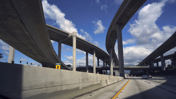 The 110 Freeway, which is often jampacked with California commuters, saw extremely light traffic in March.