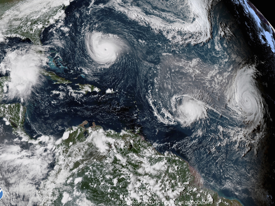 Three hurricanes form in the Atlantic in September 2018. Forecasters predict three to six major hurricanes during the 2020 season, which is above average. (NOAA via AP)