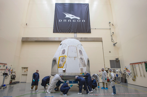 The SpaceX Crew Dragon spacecraft is prepared for its first crewed launch from American soil, It arrived at the launch site on Feb. 13, 2020.