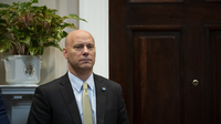 Marc Short, chief of staff to Vice President Pence, listens during a coronavirus briefing with health insurers at the White House on March 10.