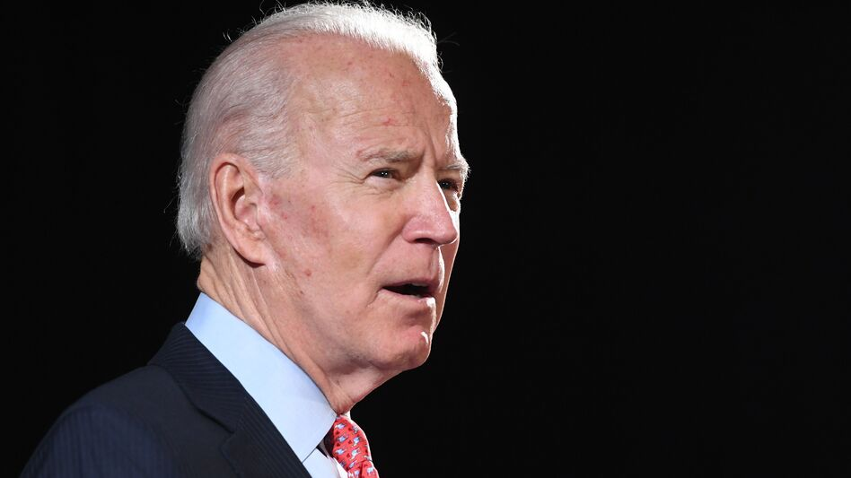 Former Vice President Joe Biden, pictured on March 12, is facing backlash for comments that his campaign says were a joke about black support for him versus President Trump. (Saul Loeb/AFP via Getty Images)