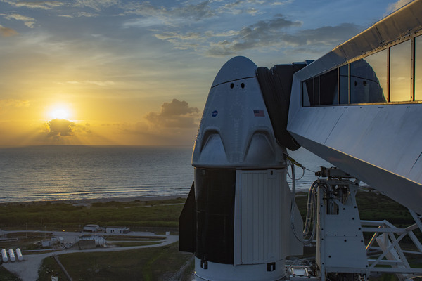 The Dragon spacecraft atop a Falcon 9 rocket at NASA's Kennedy Space Center. Astronauts Bob Behnken and Doug Hurley are set to launch on Wednesday afternoon.
