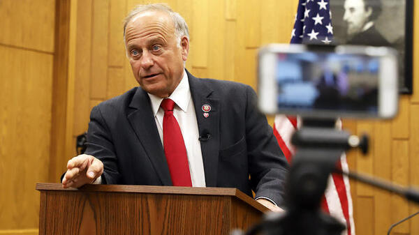 Rep. Steve King is seen at a town hall in Hampton, Iowa, in 2019.