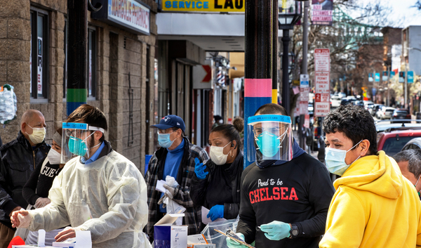 In mid-April, people lined up in Chelsea, Mass., to get antibody tests for the coronavirus that causes COVID-19.