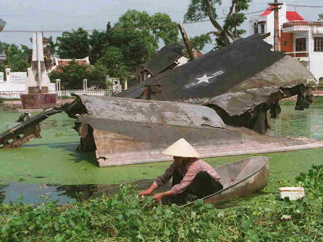 A woman cuts aquatic vegetables near the wreckage of US B-52 bombing plane shot down in 1972 on a small lake in Ngoc Ha village of Hanoi. (HOANG DINH NA/AFP via Getty Images)