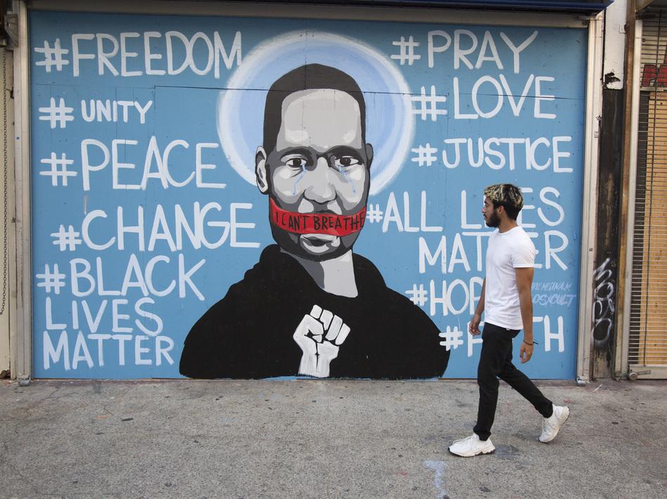A mural in Los Angeles depicts George Floyd. (Ringo H.W. Chiu/AP)