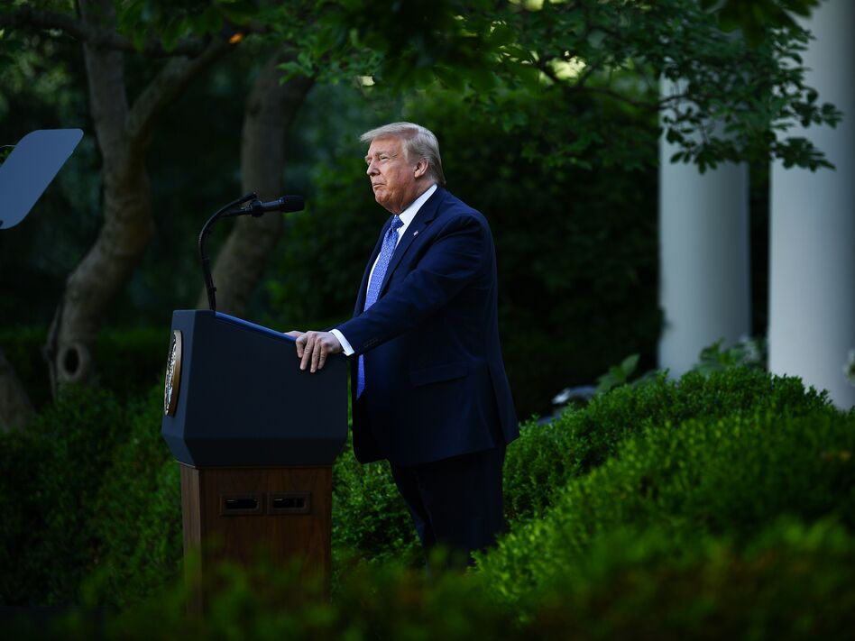 President Trump delivers remarks in front of the media in the Rose Garden of the White House on Monday. (Brendan Smialowski/AFP via Getty Images)