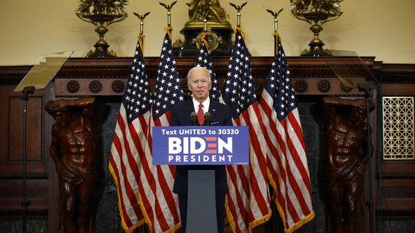 Former Vice President Joe Biden, the presumptive Democratic presidential nominee, speaks in Philadelphia on Tuesday following days of protests after the death of George Floyd in police custody.