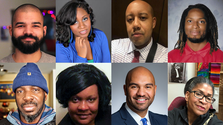 In response to several high-profile deaths of African Americans in recent months, some black people are saying that enough is enough. Clockwise from top left: Michael Martin, Tunisian Burks, Sam Tyler, Alexander Pittman, the Rev. Carol Thomas Cissel, Brandon Winston, Donna Ghanney and Mark Turner. (NPR)