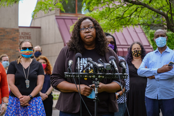 Richardson speaks at the Minnesota Legislature's People of Color and Indigenous  Caucus press conference about the legislative responses to the Murder of George Floyd on Tuesday. The Caucus intends to make police and criminal justice reform a top priority.