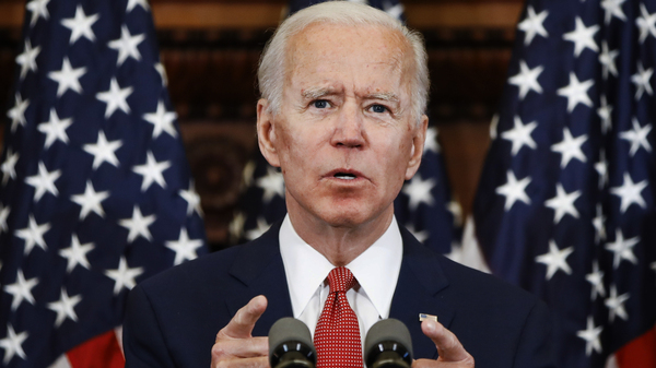 Former Vice President Joe Biden speaks in Philadelphia. He has now secured enough delegates to win the Democratic presidential nomination.