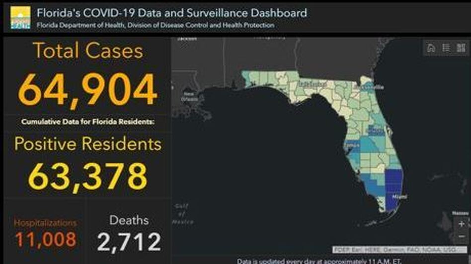 Florida's COVID-19 dashboard, here in a snapshot Monday, shows an uptick of cases. (Florida GIS/Screenshot by NPR)