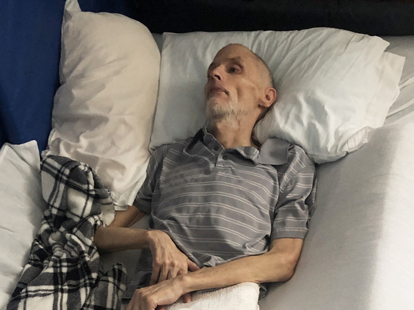 During the coronavirus restrictions, Matt's health declined rapidly and his weight dipped down to 90 pounds. Nancy moved him to a hospice facility that allowed family visitors. He died a few days later, with his wife and his daughter holding his hands.