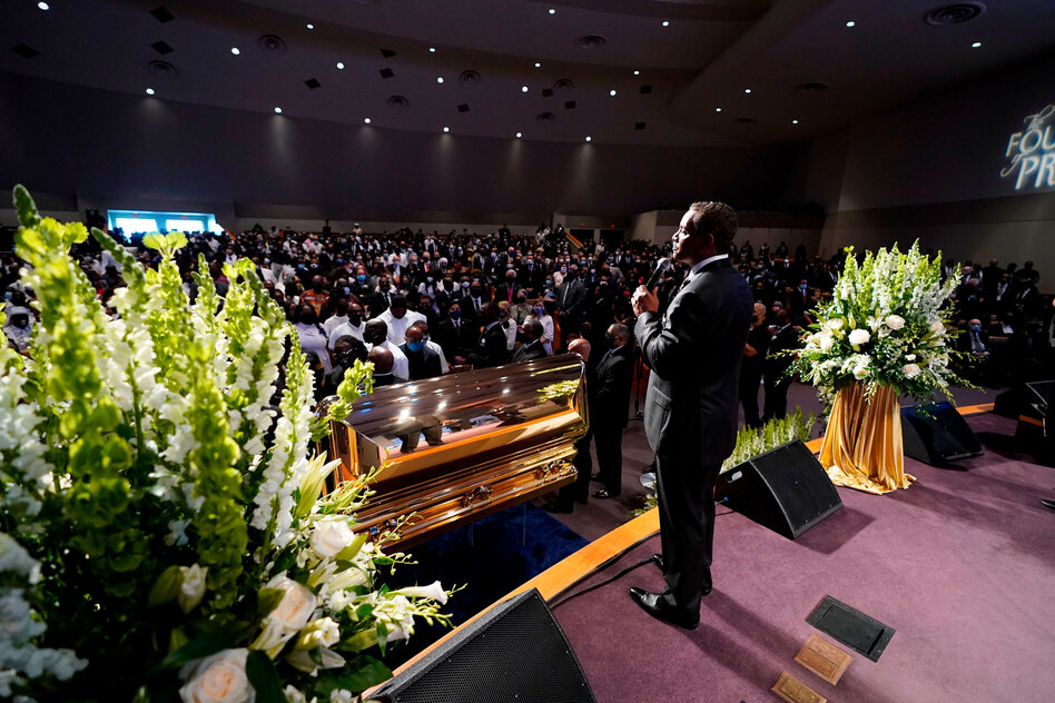 The Rev. Remus Wright speaks during Tuesday's funeral service for George Floyd at The Fountain of Praise church in Houston. (David J. Phillip/AFP via Getty Images)