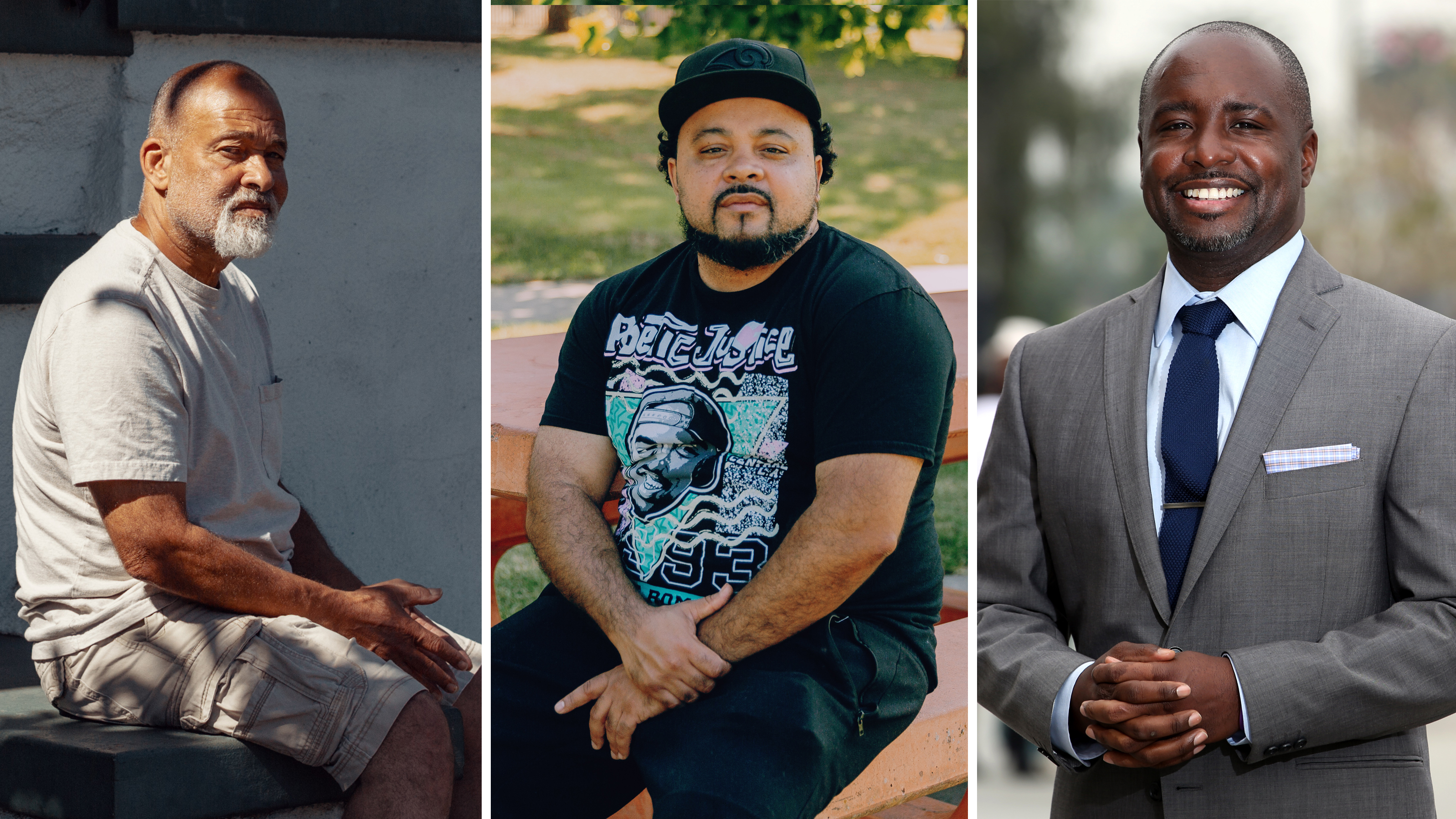 Bruce Patton (left), Gilbert Johnson and Marqueece Harris-Dawson share their perspectives on living in South LA during the unrest of previous decades and today.