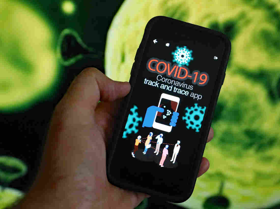 An illustration on a mobile phone showing what a coronavirus contract tracing app for the Irish health service may possibly look like. (Photo by Niall Carson/PA Images via Getty Images)