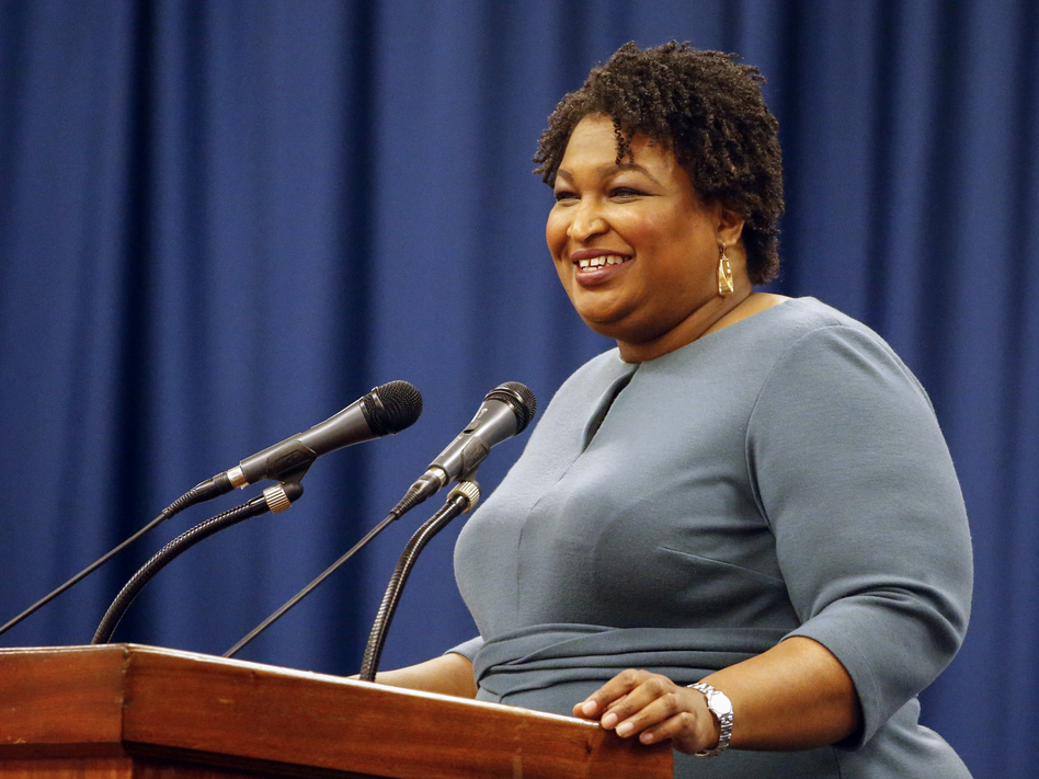 Stacey Abrams speaks at the unity breakfast on March 1 in Selma, Ala. (Butch Dill/AP)