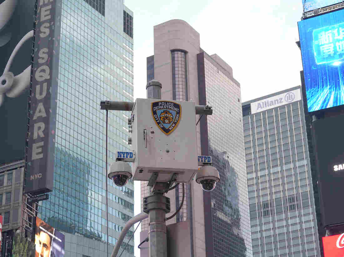 The logo of the New York City Police Department (NYPD) stands on a surveillance camera near Times Square. (Photo by Alexandra Schuler/picture alliance via Getty Images)