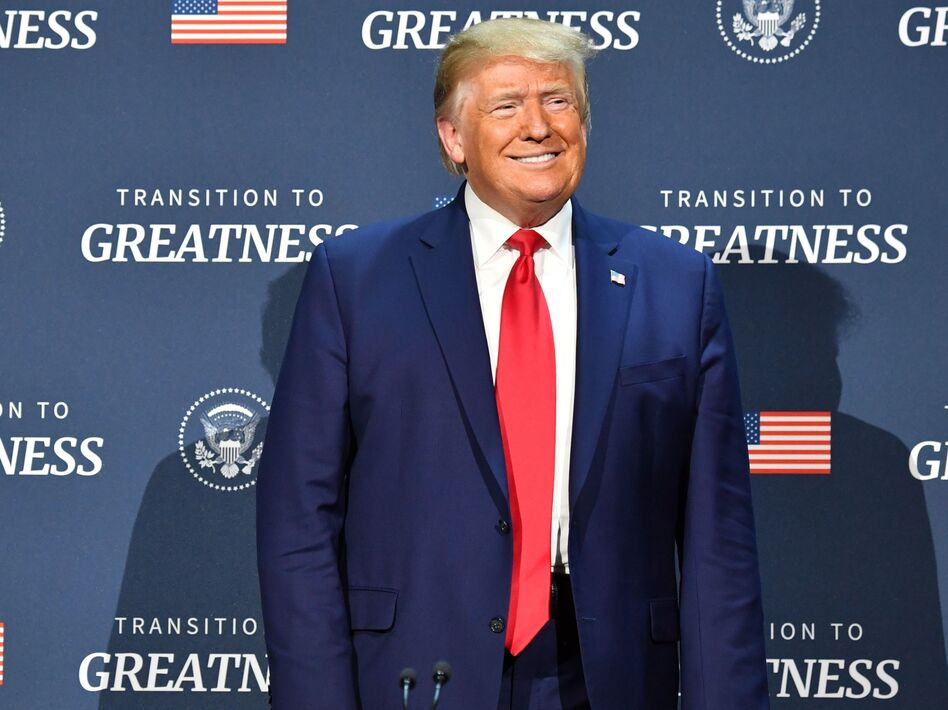 President Trump arrives for a roundtable with faith leaders and small business owners at Gateway Church Dallas Campus in Dallas on Thursday. (Nicholas Kamm/AFP via Getty Images)