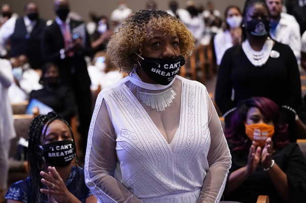 Eric Garner's mother, Gwen Carr, attends the funeral service for George Floyd at The Fountain of Praise church in Houston on June 9.