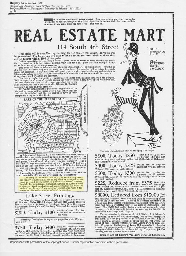 Racial restrictions were advertised by developers, like in this ad placed by Edmund G. Walton in the Minneapolis Morning Tribune, Jan. 12, 1919.