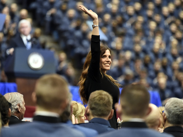 GOP House candidate and South Carolina state Rep. Nancy Mace, the first woman to graduate from The Citadel, smiles after being recognized by Vice President Mike Pence during a speech at the The Citadel on Feb. 13, 2020.