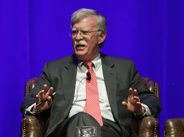 Former national security adviser John Bolton, seen in February, is scheduled to publish a memoir of his time with the Trump administration on June 23, and the Justice Department is trying to block publication.