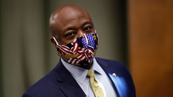 Sen. Tim Scott, R-S.C., pictured on May 7, led the effort to draft a Republican police reform proposal.