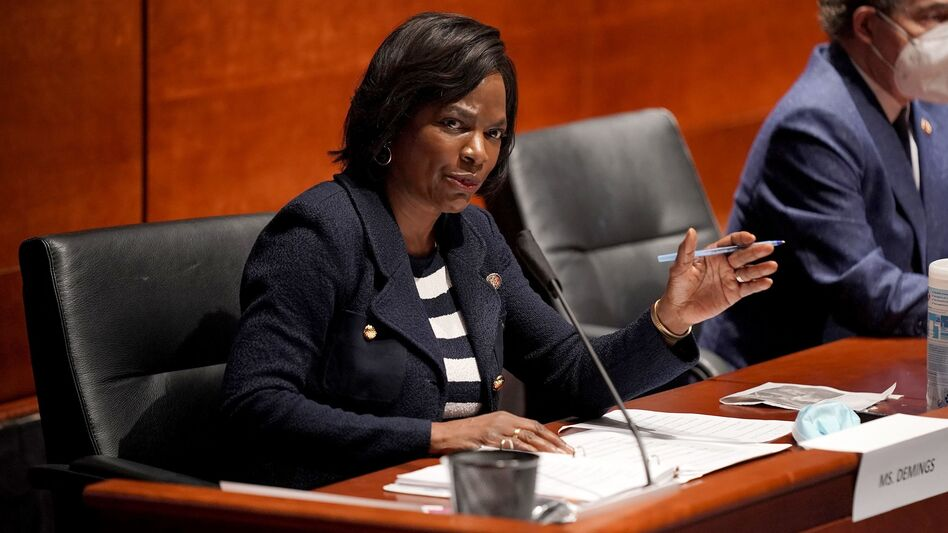Rep. Val Demings, D-Fla., asks questions during a House Judiciary Committee hearing on police brutality and racial profiling. The former Orlando police chief is a potential running mate for presumptive Democratic presidential nominee Joe Biden. (Greg Nash/Pool/AFP via Getty Images)