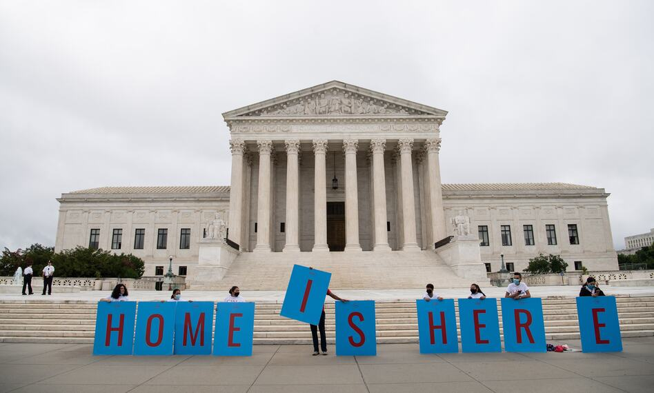 Activists demonstrate in front of the Supreme Court in Washington, D.C., on Thursday as the court rejected the Trump administration's move to rescind the Deferred Action for Childhood Arrivals program. (Nicholas Kamm/AFP via Getty Images)