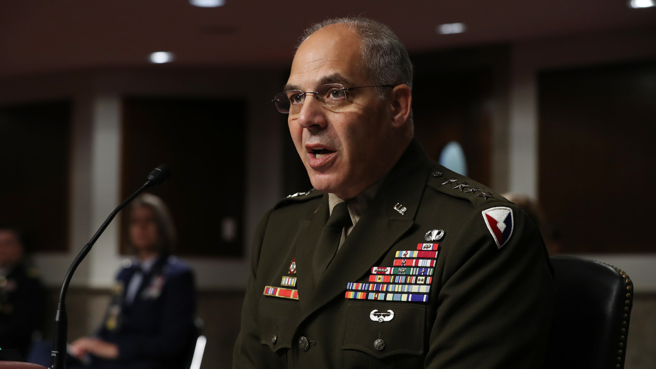 Army Gen. Gustave Perna testifies before the Senate Armed Services Committee on Thursday on his nomination to oversee the COVID-19 vaccine project. (Chip Somodevilla/POOL/AFP via Getty Images)