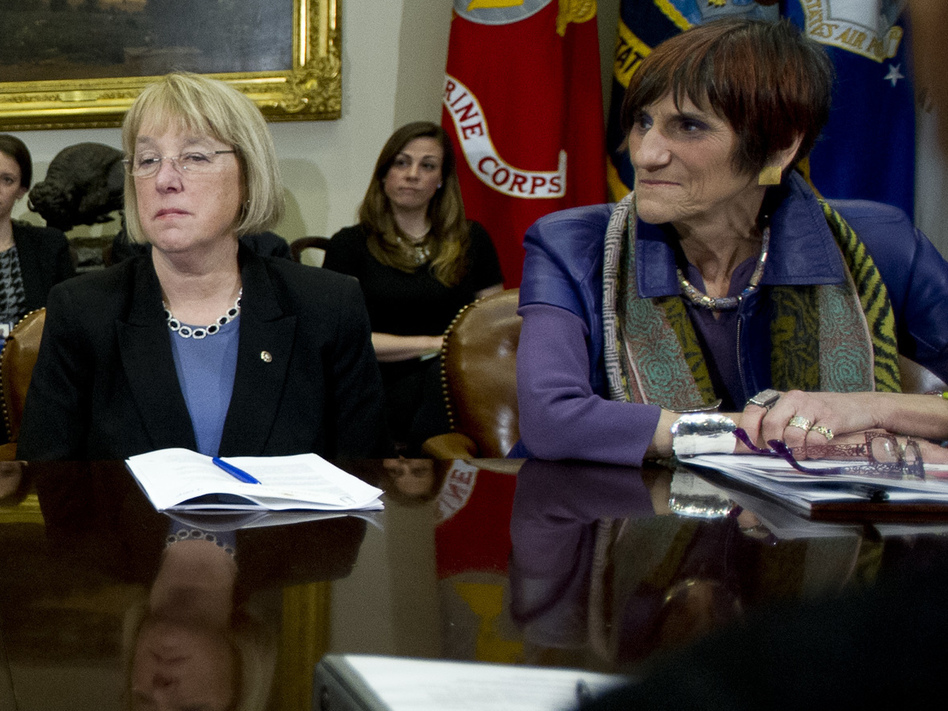 Sen. Patty Murray, D-Wash, and Rep. Rosa DeLauro, D-Conn., seen in 2014, asked the Department of Health and Human Services on Thursday why more coronavirus funds were not being spent on nursing homes. (White House Pool/Getty Images)