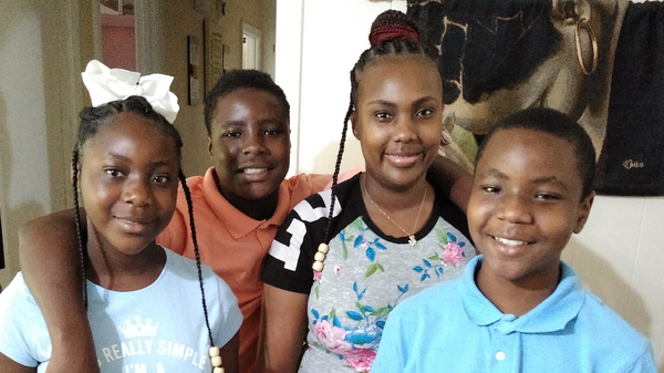 Victoria Gray, who underwent a landmark treatment for sickle cell disease last year, has been at home in Forest, Miss., with her three kids Jadasia Wash (left), Jamarius Wash (second from left) and Jaden Wash (right).