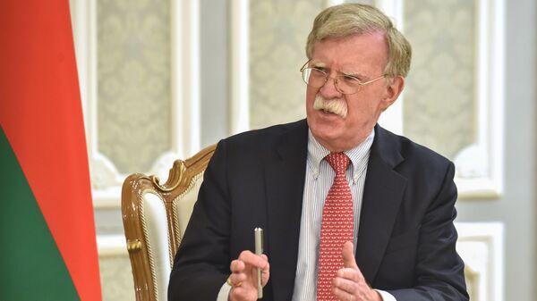 Then-National Security Adviser John Bolton is seen in Minsk, Belarus, in 2019.