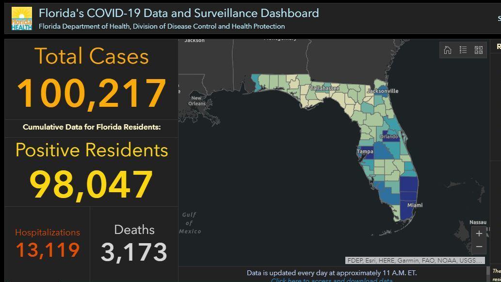 Florida Passes 100 000 Covid 19 Cases Coronavirus Updates Npr