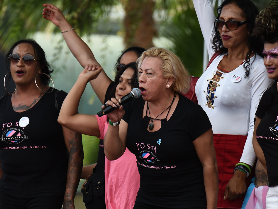 "Bamby Salcedo, here speaking at a 2017 rally, is president and CEO of the TransLatin@ Coalition, one of the plaintiffs in a lawsuit filed to keep Obama-era civil rights protections in place. ""Everyone deserves easy access to health care,"" Salcedo says, ""and health care that is respectful of who we are."" (Amanda Edwards/WireImage/Getty Images)"