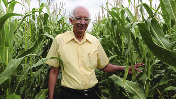 Rattan Lal in an Ohio cornfield. The soil scientist is this year