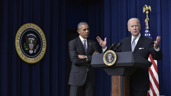 Joe Biden and Barack Obama during a signing ceremony in 2016. The former president took part in a virtual fundraiser Tuesday for his former vice president.