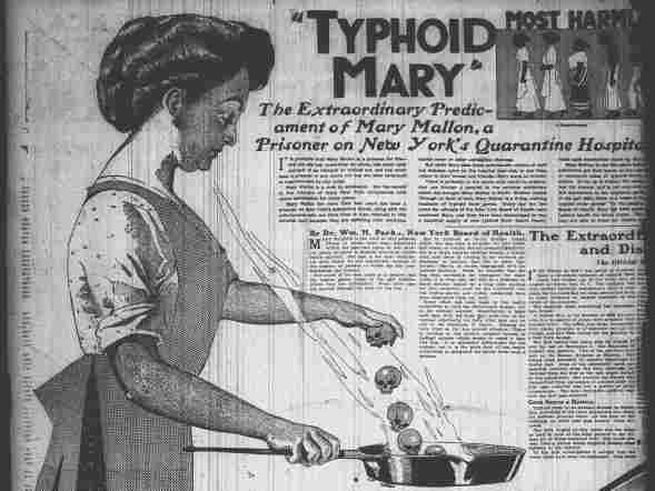 "An article on Mary Mallon where she was infamously labeled ""Typhoid Mary."" She was the first healthy person identified as a carrier of typhoid fever in the United States."
