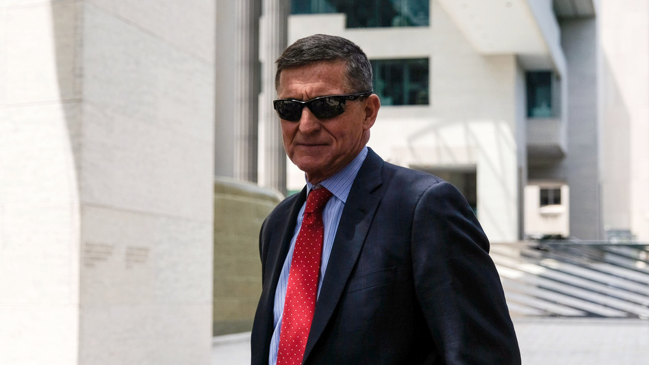 Michael Flynn, President Trump's former national security adviser, leaves the E. Barrett Prettyman U.S. Courthouse in June 2019 in Washington, D.C. An appeals court has ordered a judge to drop the case against him, as the Justice Department has requested. (Alex Wroblewski/Getty Images)