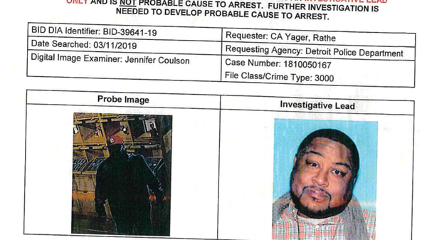 A photo of the alleged suspect in a theft case in Detroit, left, next to the driver
