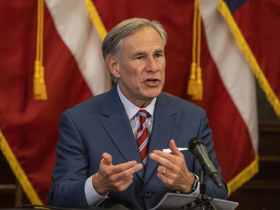 Texas Gov. Greg Abbott said the state will put a hold on further reopening as it contends with rising numbers of coronavirus cases and hospitalizations. (Lynda M. Gonzalez/Pool/Getty Images)