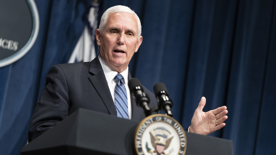 Vice President Pence holds a White House Coronavirus Task Force briefing Friday at the Department of Health and Human Services. (Joshua Roberts/Getty Images)