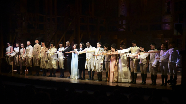 The cast of Hamilton, including its composer and creator, Lin-Manuel Miranda, center, receive a standing ovation in San Juan, Puerto Rico on Jan. 11, 2019. The musical is set to stream on Disney+ this week.