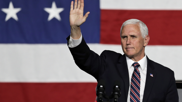 Vice President Pence waves to supporters after speaking at Lordstown Motors Corporation on Thursday in Lordstown, Ohio.