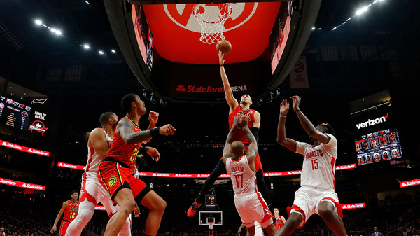 A game between the Atlanta Hawks and Houston Rockets earlier this year before the pandemic ended the NBA season. The Hawks have announced plans to use their arena as an early voting site for upcoming elections.
