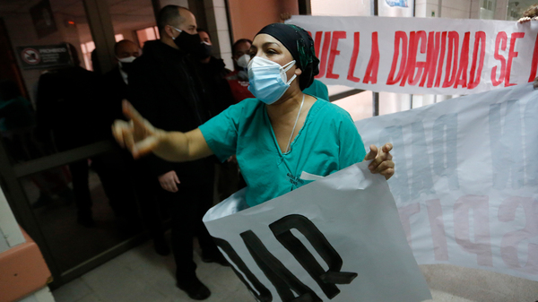 A nurse protests Chile
